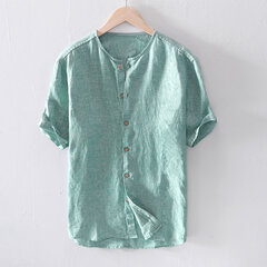 Mens Cotton Breathable Summer Thin Short Sleeve Single-breasted Casual Shirt