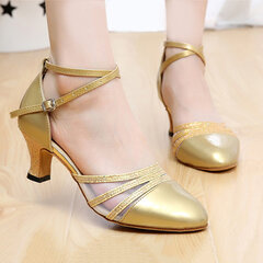 Sequins Mary Jane Mid Heel Strap Buckle Pumps