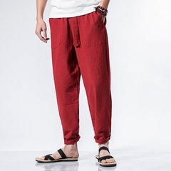 Mens National Style Cotton Solid Color Brief Casual Straight Pants