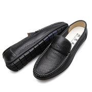 Men Hollow Out Breathable Soft Shoes Casual Driving Leather Loafers