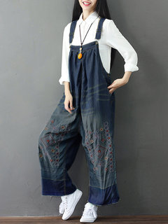 Loose Women Embroidery Strap Pockets Denim Jumpsuits