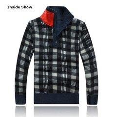 Uomo Inverno moda Stand collare Ispessito Maglia Pullover Zipper Collar Casual Sweater