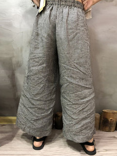 Gamba larga in vita elastica vintage Plaid Plus Dim. Pantaloni