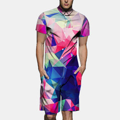 Mens Colorful Gradient Funny Print Thin Breathable Jumpsuit Buttons Fly Beachwear