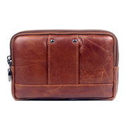 Men Genuine Leather Phone Bag Solid Flap Cowhide Waist Bag