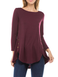 Asymmetrical Pullover Solid Color Casual Long Sleeve Shirt