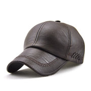 Men Lace-up PU Leather Baseball Caps Outdoor Winter Warm Dad Hat Adjustable Cap