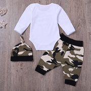 3Pcs Green Camouflage Baby Long Sleeve Romper Set For 0-24M