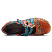 SOCOFY Vintage Floral Genuine Leather Splicing Colored Band Stitching Hook Loop Flat Shoes