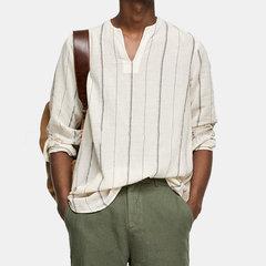 Мужская модная свободная полосатая футболка с длинным рукавом и длинными рукавами