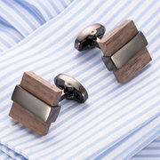 Mens Vogue Exquisite Cufflinks Wooden Metal Drawing Smooth Cufflinks For Wedding  Bussiness Gifts