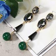 JASSY ® 18K الذهب هندسية كريستال إسقاط أقراط البيضاوي قص الماس الأخضر العقيق الأسود هدية للمرأة