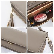 Faux Leather Tassel Designer Handbag Zipper Crossbody Bag For Women