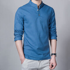 Mens Chinese Style Linen Long Sleeve T Shirt Fashion Solid Color Casual Tops