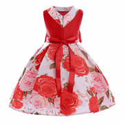 Big Bow Floral Girl Kids Print Pageant Party Formal Princess Dresses For 3Y-13Y