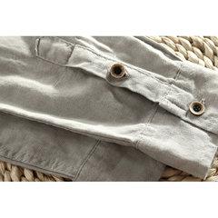 قميص كتان رجالي قطن كاجوال بأكمام طويلة صالح سليم اللون تي شيرت