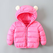 Cute Ears Girls Downs Parkas Boys Solid Color Winter Coat For 1Y-9Y