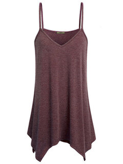 Casual Solid Strap V-Neck Tank Tops For Women