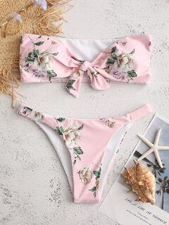 Floral Sexy Bikinis Tie Front Print Bandeau Backless Swimsuits For Women By Newchic