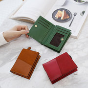 Women PU Leather Card Holder Wallet Purse Hitcolor Clutch Bag