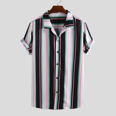 T-shirts à manches courtes décontractés à col montant et à rayures multicolores pour hommes
