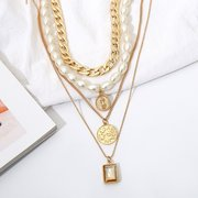 Vintage Coins Tassels Multi-layer Necklace Retro Pearl Long Necklace For Women