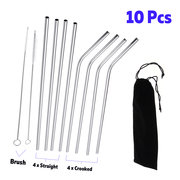 10Pcs Reusable Drinking Straws 304 Stainless Steel Metal Straw with Cleaner Brush