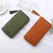 Women Faux Leather Long Phone Purse 8 Card Slot Wallet Tassel Multi-function Coin Bag