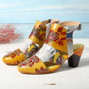 SOCOFY Snakeskin Grain Splicing Genuine Leather Vintage Flowers Pattern Buckle Strap Sandals