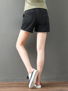 Women Drawstring Contrast Color Patch Casual Denim Shorts