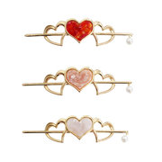 Trendy Three Dimensional Hollow Heart Shape Hairpin Pearl Sweet Hair Accessories Gift for Women