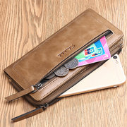 FALANMULE Genuine Leather Zipper Long Wallets Retro Card Holder Coin Purse For Men