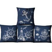 Navy Ocean Style Cotton Linen Pillow Case Home Fabric Sofa Mediterranean Cushion Cover