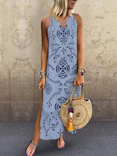 Bohemian Print Sleeveless V Neck Side Slit Dress