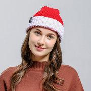 Bonnet Noël Hiver Femme en Tricot Chapeau Père Noël Souple