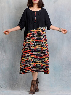O-NEWE Vintage Stitching Printed Long Sleeves Dresses For Women