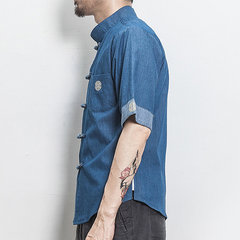 Men Chinese Style Button Up Half Sleeve Denim Shirt