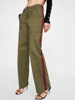 Wide Leg Patchwork Contrast Color Vintage Pants