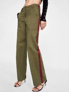 سروال واسع الساق خليط التباين اللون خمر