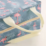 Flamingo Cactus Print Insulation Lunch Bag Cold Fresh Picnic Bag Oxford Waterproof Handle Bag