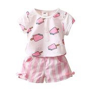 2Pcs Toddler Girls Clothes Set T-shirt imprimé + Pantalon court à rayures