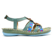 SOCOFY Sooo Comfy Genuine Leather Floral Stitching Buckle Strap Forest Sandals