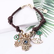 Bohemian Fatima's Palm Woven Bracelet Leather Eye Bracelet For Women