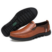 Menico Men Cow Leather Non Slip Large Size Slip On Soft Sole Casual Shoes