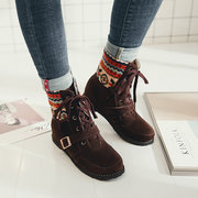 Большой размер Pattern Lace Up Folkways Mid Calf Boots
