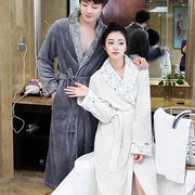 Women Luxury Fur Silk Soft Flannel Bathrobe Plus Size Extra Long Bath Robe Couples Sleepwear