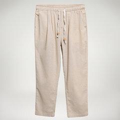 Calças Masculinas Casuais de Algodão e Linho Respirável com Cordão
