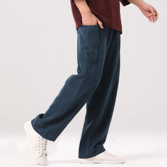 Men's Casual Solid Color Baggy Loose Elastic Pants Cotton Sweatpants Linen Trousers