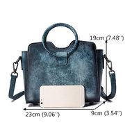 Women Vintage Handbag Genuine Leather Handmade Brush Color Crossbody Bag