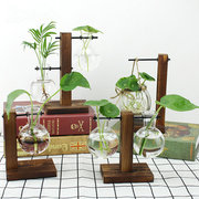 Прозрачные стеклянные вазы Vintage Wood Hydroponic Plants Home Living Room Crafts Ornaments